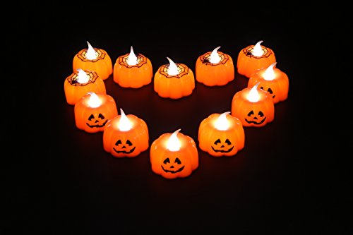 Halloween Led Tea Lights, Battery Powered Flameless Candles for Indoor and Outdoor, Home (12PCS) (Candles For Halloween)