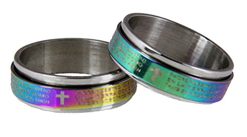 S29 Iridescent Rainbow Spinner Ring Spanish Our Father Lord's Prayer Padre Nuestro Stainless Steel Jesus Christ -