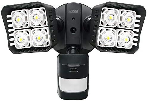 Upgraded SANSI LED Security Motion Sensor Outdoor Lights, 30W 250W Incandescent Equivalent 3400lm, 5000K Daylight, Waterproof Floodlights, Black