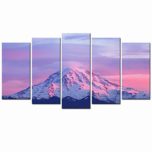 Sunset Art Painting - LevvArts - Large Canvas Print Wall Art Pink Sunset Light on Mount Rainier in The Cascade Range Picture Paintings 5 Panels Stretched and Framed Giclee Prints Artwork for Home Decor