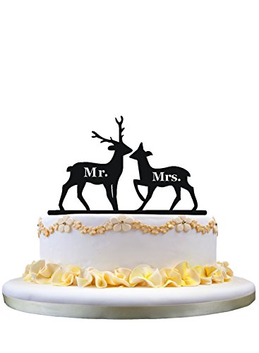 (Rustic Keepsake Cake Topper- 2 Deers with Mr and Mrs)