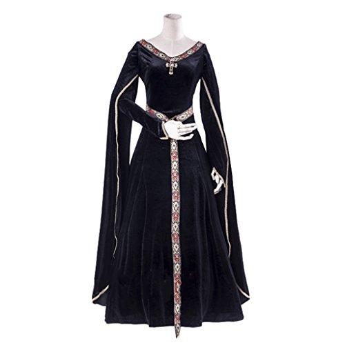 1791's lady Women's Elven Medieval Renaissance Costume Gown Dress White-XS -