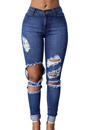 Magro Proprio Blu Jeans A Buco Tempo Pieno Alta Donna Vita Strappata 4AqBBIX