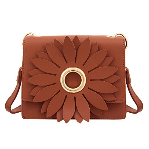 Naimo Elegant Flower Design Cross Body Bag Casual Dating Shoulder Bag (Brown) by Naimo