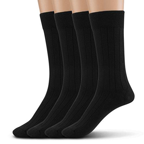Silky Toes Modal Soft Men's Dress Crew Socks (10-13, Black (Rib-4 Pairs))