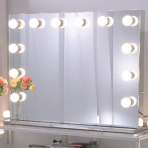 Chende Stainless Steel Vanity Mirror with Light Bulbs, Hollywood Style Lighted Makeup -