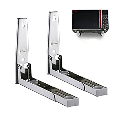 IRISFLY Foldable 304 Stainless Shelf Rack for Microwave Oven Wall Mount Bracket Load 100lb