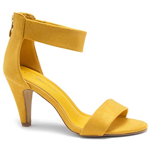High Heel Shoes Under 20 Dollars (Herstyle RROSE Women's Open Toe High Heels Dress Wedding Party Elegant Heeled Sandals Mustard)
