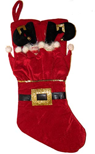 Holiday Time Red Velour Santa's Elf Legs Sticking Out and elf Stuffed in Stocking with Black Belt & Gold Buckle with Feathers and Bells on Shoes