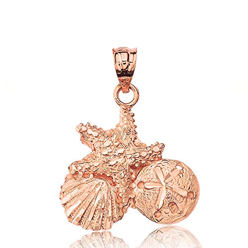 Textured 14k Rose Gold Starfish Cockle Sea Shell and Sand Dollar Pendant