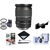 Canon EF-S 17-55mm f/2.8 IS USM Digital SLR Zoom Lens USA Warranty Bundle With 77mm Filter Kit, Lens Cap Leash, Lens Cleaning Kit, Flex Lens Shade, Software Package, Lens Wrap (15x15)
