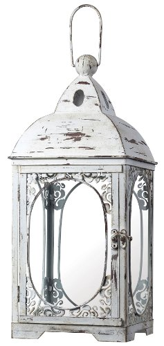 Sterling 51-10022 Glass/Metal Restoration Hurricane Candle Lantern, 22-Inch, Weathered White by Sterling