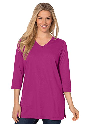 Woman Within Women's Plus Size Perfect Three-Quarter Sleeve V-Neck Tunic