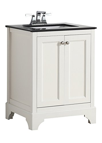 Simpli Home 4AXCVCBW-24 Cambridge 24 inch Transitional Bath Vanity in Soft White with Black Granite Top