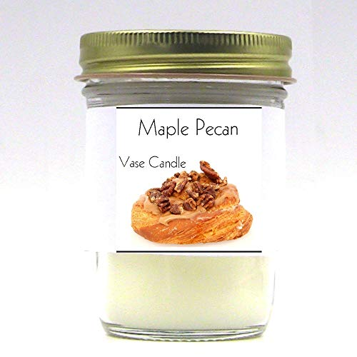 - 2 Maple Pecan Jars | Vase Candle | 100 Hour Burn Time | Premium Soy Paraffin Wax Blend | Highly Scented | Self-Trimming Wick