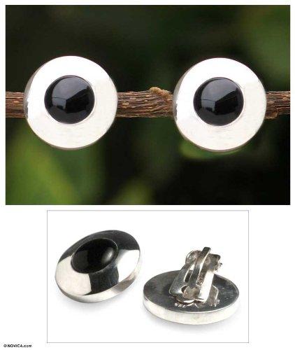 NOVICA Obsidian .925 Sterling Silver Button Earrings Forever