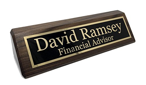 - Personalized Desk Name Plate - Walnut - Free Engraving