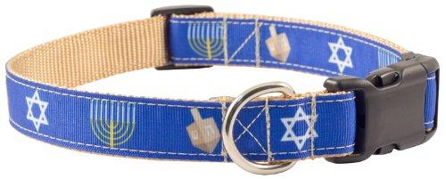 Hanukkah Dog Collar - Country Brook Design | Deluxe Hanukkah Ribbon Dog Collar - Extra Large