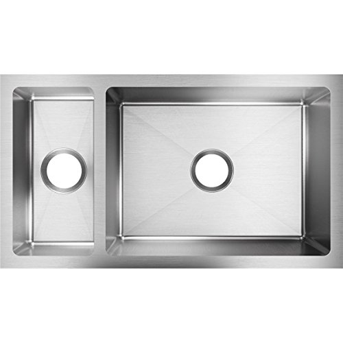 Elkay Crosstown EFRU321910T 30/70 Double Bowl Undermount Stainless Steel Kitchen Sink