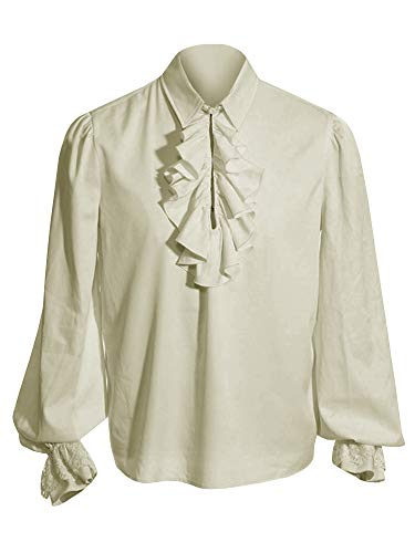 Sysea Mens Ruffled Medieval Colonial Pirate Costume Cosplay Button Down Long Sleeve White Shirt (XX-Large, Beige) -