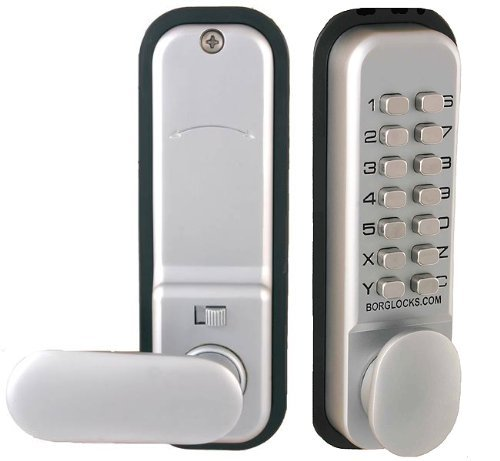 Borg 2201 Digital Push Button Door Lock with Holdback in Satin Chrome