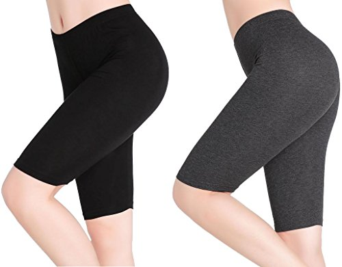 CnlanRow Womens Under Skirt Short Leggings Stretch Soft Summer Sport Knee Shorts (Ladies Mesh Knit Pant)