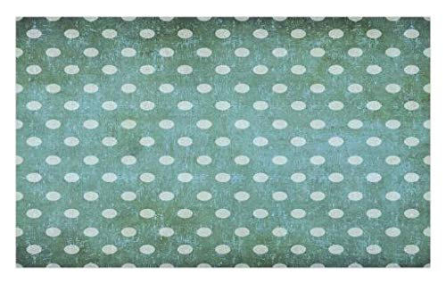 Lunarable Polka Dot Doormat, Timeless Round Motifs with Grunge Background Antique Spots Pattern, Decorative Polyester Floor Mat with Non-Skid Backing, 30 W X 18 L inches, Pale Green Mint Green by Lunarable