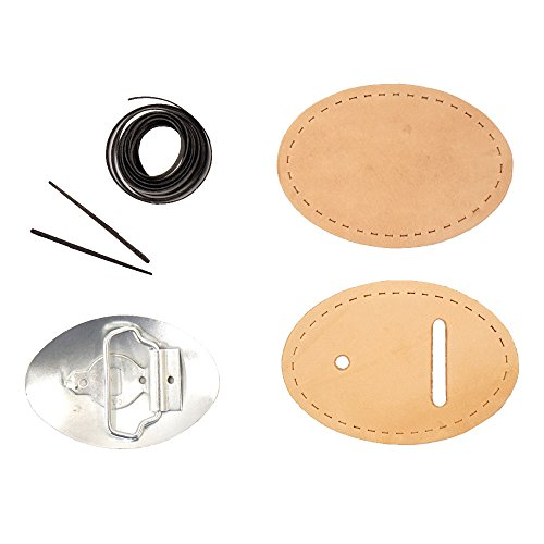 Oval Vegetable Tan Cowhide Leather Belt Buckle Kit (Tooling - Belt Kits Leather