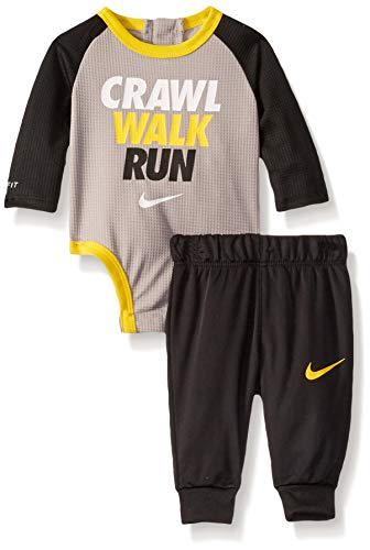 NIKE Children's Apparel Baby Girls Long Sleeve Bodysuit and Joggers 2-Piece Outfit Set, Black/Atmosphere Grey, 6M