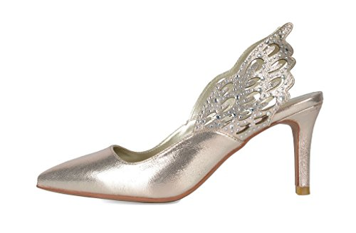 WINGS DREAM Women's Pointed Pump Heel Shoes Gold PAIRS Toe Stilettos Fashion AwSqArE