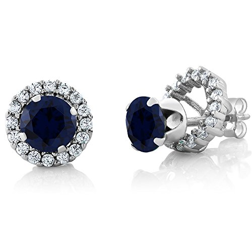 Gem Stone King Sterling Silver Blue Sapphire Stud Halo Earrings 2.00 cttw Gemstone Birthstone Round Cut 6MM
