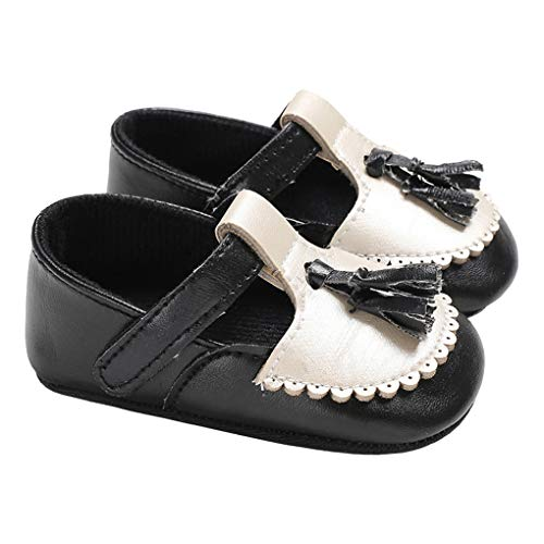 Infant Baby Boys Tassel Christening Church Shoes T-Strap Elegant Brogue Loafers Black Size S by lakiolins