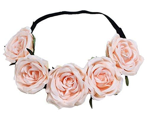 Floral Fall Elastic Coffee Big Rose Flower Headband Hair Wreath Halo Crown F-37 (2#BabyPink)