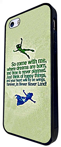 002 - Cool Cartoon Neverland Quote Come With Me Design iphone SE - 2016 Coque Fashion Trend Case Coque Protection Cover plastique et métal - Noir