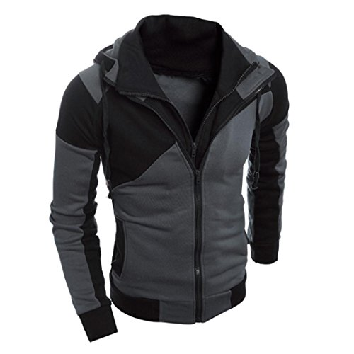 Review Clearance!GREFER Men Retro Long Sleeve Hoodie Hooded Sweatshirt Tops Jacket Coat Outwear