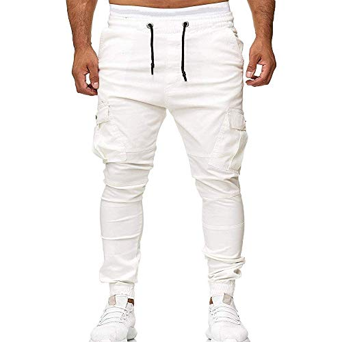 (ZANWOOS Men's Casual Sweatpants Tights Three-Dimensional Cutting Stick Pockets White)