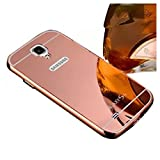 SODIAL(R) For Samsung Galaxy S4 I9500 I9505 Mirror Design Case Luxury Aluminum Phone Bumper Frame +Mirror Reflective Effect Hard Back Shell Protective Cover - Rose Gold