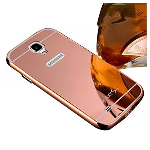 TOOGOO For Samsung Galaxy S4 I9500 I9505 Mirror Design Case Luxury Aluminum Phone Bumper Frame +Mirror Reflective Effect Hard Back Shell Protective Cover - Rose Gold