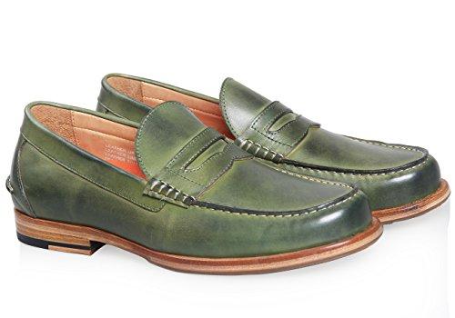 ELANROMAN Herren Handgefertigte Kuh Leder Formal Casual Loafers Schuhe Grün