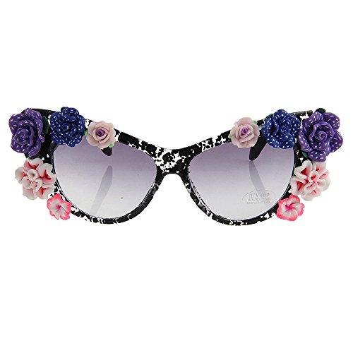 protección de de Personalidad de Ojos los Hechas de la Flor del Sol de Ultra Gafas Gafas de de Lady de de la a la Verano Gato Mano del Playa Ligero Mujeres Sol la Estilo Las UV de 506wgq7