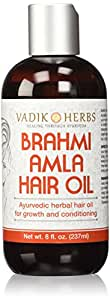 Brahmi Amla Hair Oil (8 oz) by Vadik Herbs | Ayurvedic herbal hair growth oil and hair conditioning oil | Great for hair loss, balding, thinning of hair, for beard growth, herbal scalp treatment