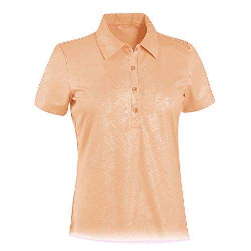Monterey Club Ladies Dry Swing Lace Emboss Solid Shirt #2433 (Peach Nectar, - Nectar Club