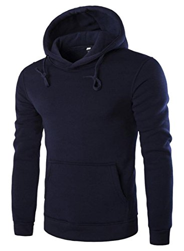 M&S&W Men's Casual Solid Hoodie Pullover Top Soft Long Sleeve Sweatshirts Navy blue