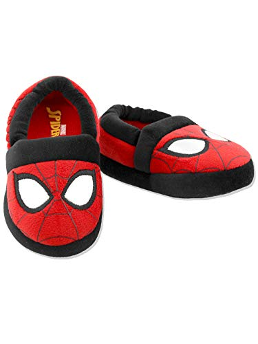 Spider-Man Toddler Boys Plush Aline Slippers (7-8 M US Toddler, Red)