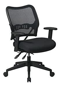 SPACE Seating Deluxe AirGrid Back with Mesh Seat, 2-Way Adjustable Arms, Seat Slider and Nylon Base Managers Chair, Black