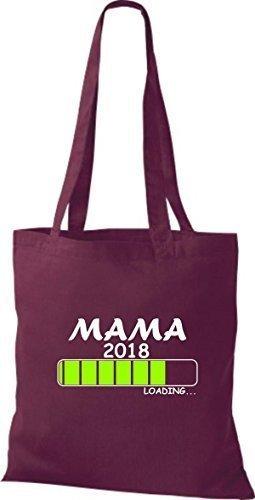 ShirtInStyle Bolso de mano Bolsa de algodón MAMA 2016 Carga Nacimiento Regalo - fucsia Burdeos