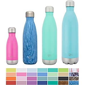 Simple Modern 17oz Wave Water Bottle - Vacuum Insulated Double-Walled 18/8 Stainless Steel Hydro Swell Flask - Concept Collection - Aqua Rain