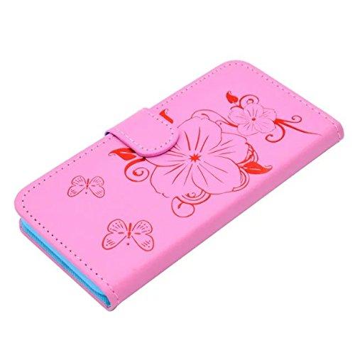 EKINHUI Case Cover IPhone 6S Fall, Blumen-Schmetterlings-Vergoldung-Muster-Fall-Mappen-Standplatz-Fall-horizontaler Schlag-Fall PU-lederner Kasten TPU Abdeckung für IPhone 6S 4,7 Zoll ( Color : Pink )