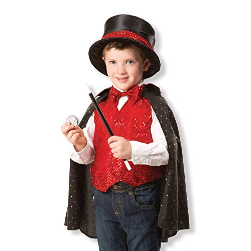 Melissa & Doug Magician Role Play Costume Set - Includes Hat, Cape, Wand, Magic Tricks