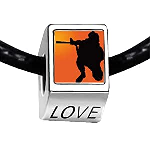 Chicforest Silver Plated World War soldier with gun Photo LOVE Charm Beads Fits Pandora Bracelets